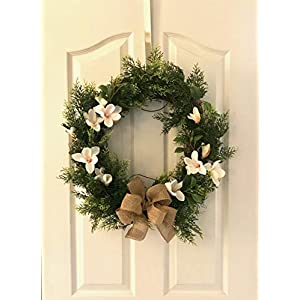 Reflective Designs Green Boxwood Front Door Wreath XL 20 Inch Year-Round Outdoor Rustic Decor - Made Natural Looking Lush Leaf Greenery, Moss Floral Decorations Storage Box 107