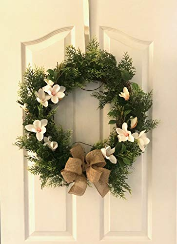 Reflective Designs Green Boxwood Front Door Wreath XL 20 Inch Year-Round Outdoor Rustic Decor - Made Natural Looking Lush Leaf Greenery, Moss Floral Decorations Storage Box