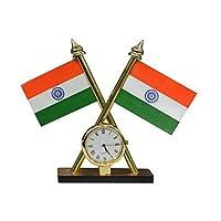 Carsaaz Universal Car Dashboard Indian Flag with Clock