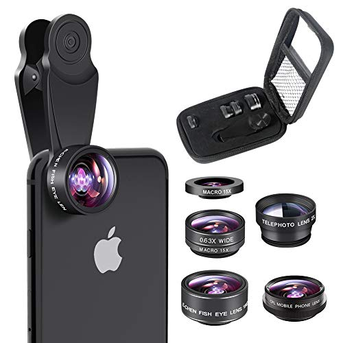 (Cell Phone Camera Lens 5 in 1 Kit, 2X Telephoto Zoom Lens+198°Fisheye Lens+0.63X Wide Angle Lens & 15X Macro Lens+CPL for iPhone X/8/7/6s/6 for Smartphone,Android,Samsung,iPhone Lens. Photography)