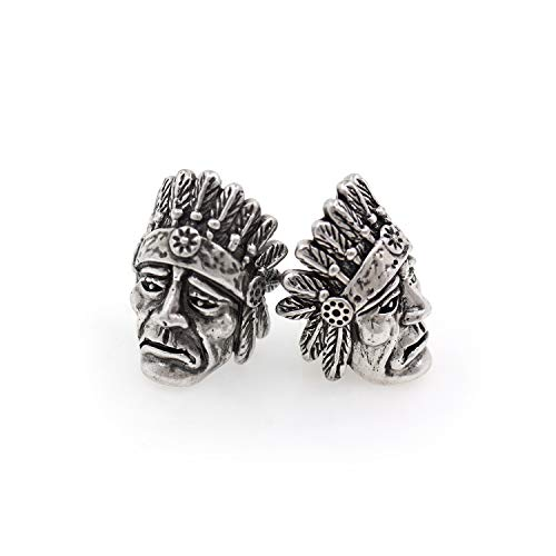 Indian Chief Diamond Cut - Indian Chief Bead for Paracord Bracelet Making,Vintage Style 550 Paracord Bead,Handmade Jewelry Supply 15x21mm Antique Silver 3Pcs