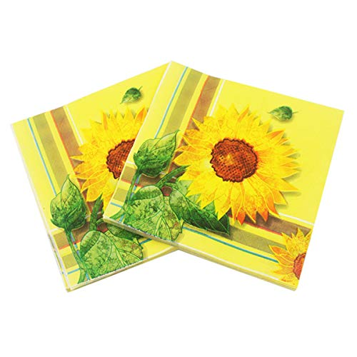 LASLU 100 Pack Decorative Dinner Napkins - Disposable Paper Party Napkins with Gold Foil Pineapple, Perfect for Anniversary Decorations, Birthday Party Supplies (Sun Flower, 6 x 6 Inches Folded)