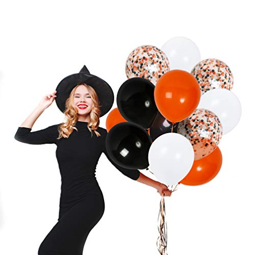 Treasures Gifted 12 Inch Halloween Balloons Decorations Kit Orange Black and White Confetti Pack of 42 Solid Latex for Party Ghost Hunting Centerpieces Spooky Maze