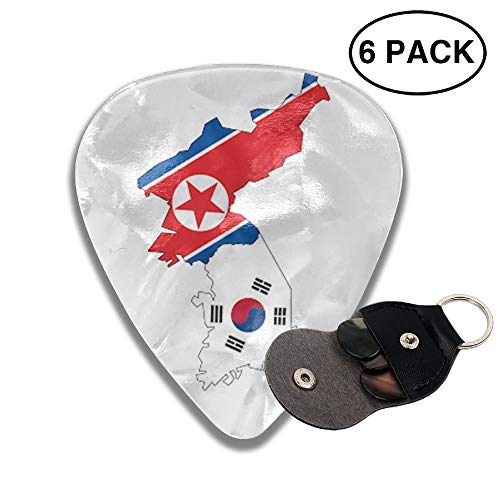 Houde Ankang North South Korea Flag Map 6 Pieces Personalized Guitar Picks.
