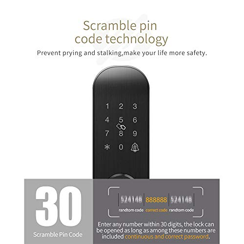 GAOPIN Combination Locks - Biometric Fingerprint Lock, Security Intelligent Lock with WiFi APP Password RFID Unlock,Door Lock Electronic, Black,4 by GAOPIN (Image #3)