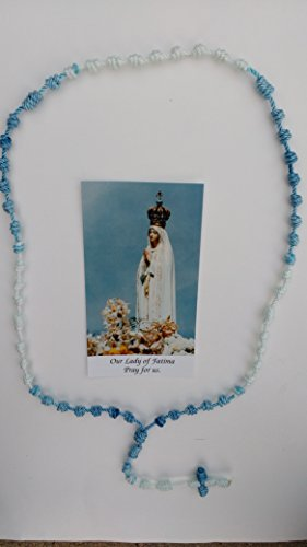 Our Lady of Fatima Dyed Cord Rosary (Evening Blue and White)
