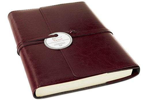 Refillable Burgundy (Tuscan Recycled Leather Refillable Journal Burgundy, A5 Plain Pages - Handmade in Italy by LEATHERKIND)