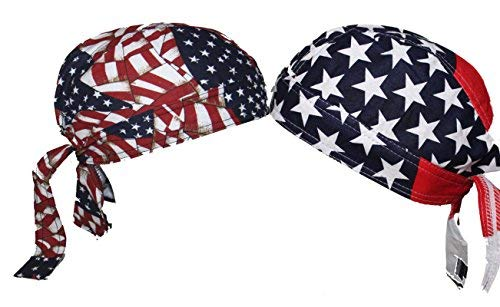 American USA Skull Cap Set Head Wrap Biker Bandana DO-RAG DOO RAG DU RAG ...