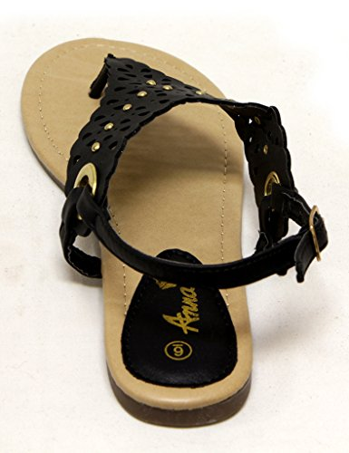 Anna May-100 Womens buckled ankle strap thong Sandal with cutout geomatric upper Black ThKAp