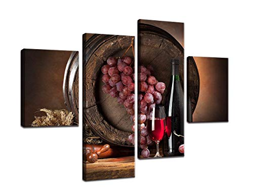 Wine Fruit Painting Prints on Canvas 4 Piece Kitchen Decor Wall Art Red Wine Bottle and Barrel Grape Picture Artwork Modern Wall Decor Gallery Wrapped Giclee Stretched and Framed(48x32inch)
