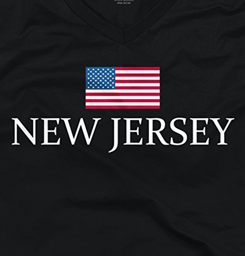 USA American Flag 4th of July Patriotic Americana New Jersey V-Neck T