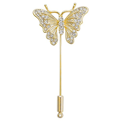 DMI Unique Jewelry Alloy Clear Crystal Butterfly Insect Lapel Brooch Pin Gold-Color