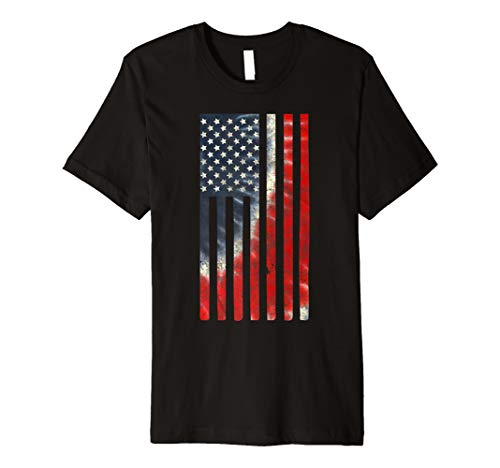 Tie Dye American Flag Shirt 4th of July USA Vertical Premium T-Shirt