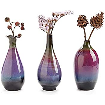 LH Ceramic Flower Vase Set of 3, Special Design Style of Fuchsia, Smooth and Bright Glaze,Decorative Modern Floral Vase for Home Decor Living Room Centerpieces and Events
