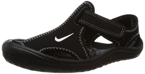 New Nike Boy's Sunray Protect Sandal Black/White 2