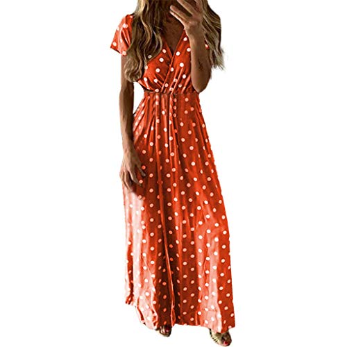 Women's Maxi Dresses Sexy V-Neck Short Sleeve Bohemian Polka Dot Print Party Beach Long Dress Red