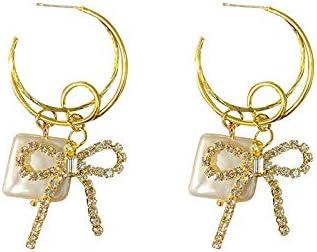 HAOHAOCHENG-WL Necesidades de la Familia Oído Aguja de Plata Tachonado Bowknot del Diamante Pendientes Cuadrados Perlas de Agua Dulce Pendientes Colgante Infantil (Color : Diamante Bowknot)