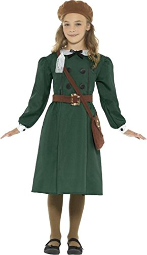 Ww2 Evacuee Girl Costume Green Medium Age (Evacuee Costume Ww2)