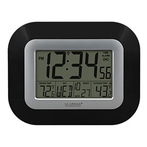 La Crosse Technology WS-8115U-B Atomic Digital Wall Clock with Indoor and Outdoor Temperature, Black (Temp Clock)