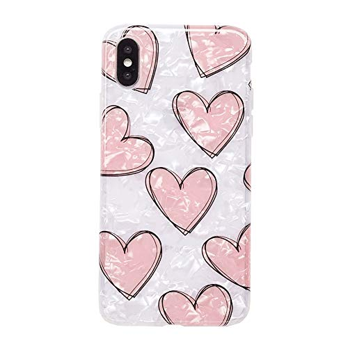 iPhone XS Max Case for Girls, YeLoveHaw Glitter Pearly-lustre Translucent Shell Texture with Love-hearts Pattern Phone Case [Flexible Soft, Slim Fit, Full Protective] for iPhone XS Max 6.5 Inch -