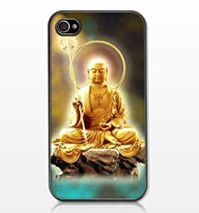 Buddha Zazen Matte Hard Case with PU Leather for iPhone 4/4S