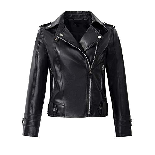 - Jacket Women Classic Zipper Short Motorcycle Jackets Lady Autumn Soft,Black 130,XXL