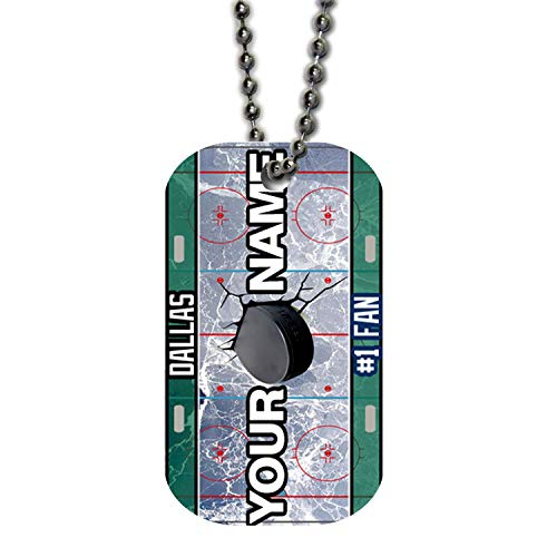 BRGiftShop Personalize Your Own Hockey Team Dallas Single Sided Metal Military ID Dog Tag with Beaded Chain