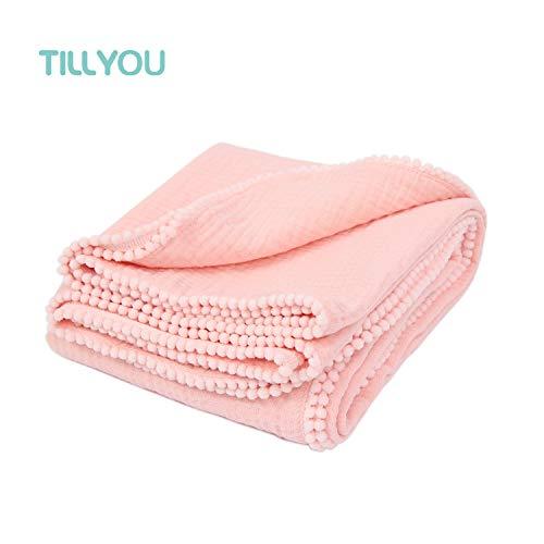 TILLYOU 100% Soft Cotton Muslin Swaddle Blanket with Pom Pom, 44