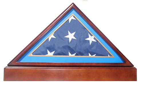 BurialFuneral-Flag-Display-Case-Frame-Military-Shadow-Box-with-Pedestal-Stand-with-Air-Force-Sky-Blue-Mat