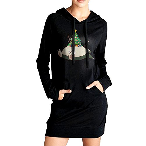 [VHF Women's Snorlax Christmas Sweater Pockets Hoodie Dress Black Size M] (Snorlax Costume Dress)