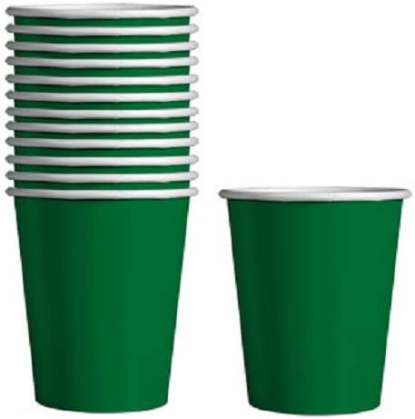 Green Paper Party Cups Beverage Disposable Paper Cups for Birthday Party Cups 12 Pack