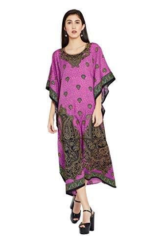 (Goood Times Burgundy Paisley Long Kaftan Kimono Maxi Dress Plus Size Caftan Gown Nightdress for Women)
