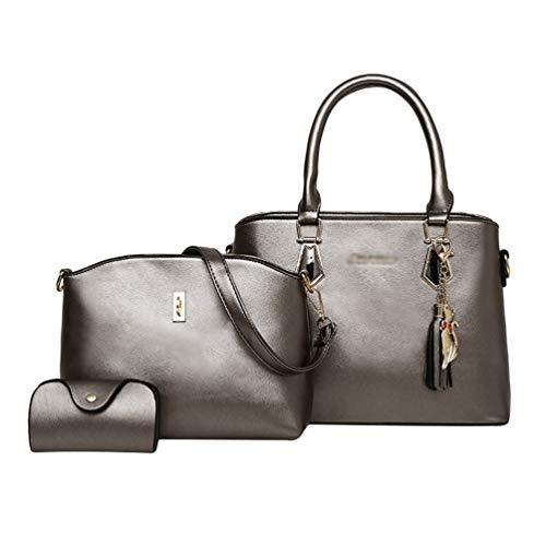 Signore Dexinx Charme PU Argento Bag in Set di Exquisite Shopping Tote Shoulder 3 Grigio Sacchetti Eleganti pezzi borsa pelle di Awqwgrxtd