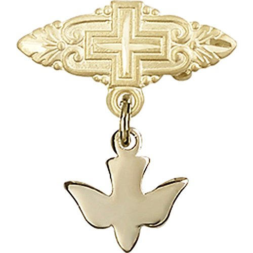 14kt Yellow Gold Baby Badge with Holy Spirit Charm and Badge Pin with Cross 7/8 X 3/4 inches by Unknown