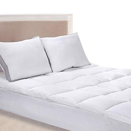 Utopia Bedding Polyester Mattress Topper (Queen) – Mattress Pad Cover Stretches Up To 15 Inches Deep – Mattress Protector with Siliconized Fiber Filling