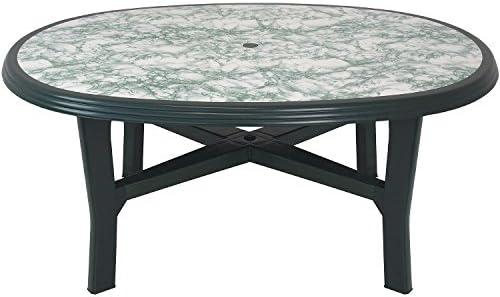 Mesa de jardín resistente 165 x 110 cm ovalada tablero con aspecto ...