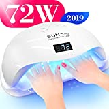 Professional Nail Dryer 72W - SUN 5 Pro Best UV LED Nail Lamp for Fingernail & Toenail Gel Based Polishes - Portable Nail Curing Light with 36pcs LEDs, 4 Timer Settings & Smart Sensor (White)