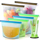 Reusable Silicone Food Storage Bags (Set of 6)-2xLarge 50oz, 4xMedium 30oz, Sungwoo Airtight Seal Food Preservation Bag/Food Grade/Versatile Silicone bags for Vegetable, Liquid, Snack, Meat, Sandwich
