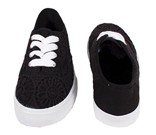 Lettore Da Donna Di Soda Comode E Alla Moda Sneakers Ricamate A Punta Rotonda In Cotone Nero E Suola Bianca