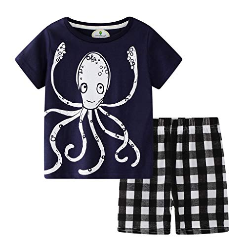 Zlolia Toddler Kids Boys Octopus Cartoon Print T-Shirt Two-Piece Set with Mosaic Stretch Shorts Kids Summer Clothes Navy]()