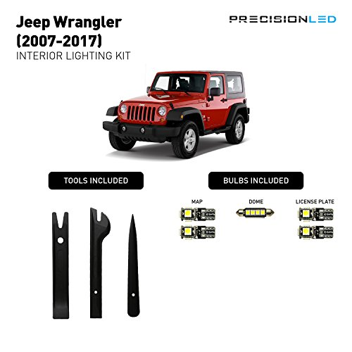 PrecisionLED Jeep Wrangler Accessories JK LED Interior lighting kit - License Plate LED's - Install Tools - Jeep Wrangler Lighting (8000K)