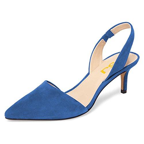 FSJ Women Fashion Low Kitten Heels Pumps Pointed Toe Slingback Sandals Dress Shoes Size 9 Blue