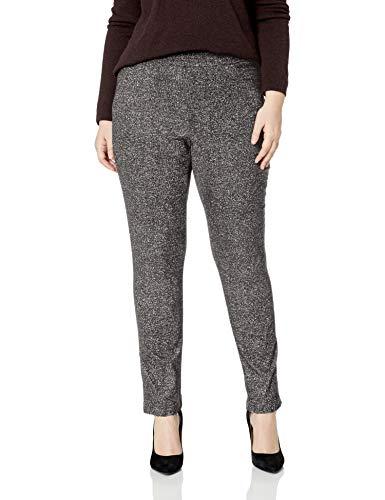 - Briggs New York Women's Plus Size Super Stretch Millennium Welt Pocket Pull on Career Pant, Black/White Speckle 20W