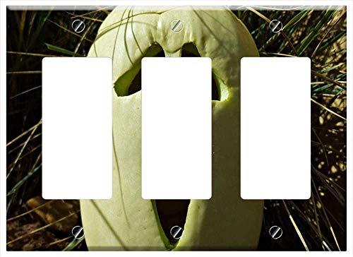 Switch Plate Triple Rocker/GFCI - Pumpkin October Halloween Holiday Autumn -