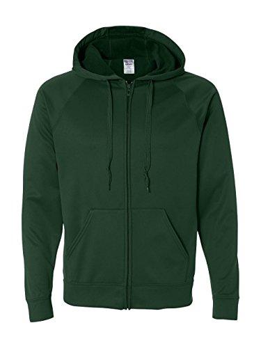 Jerzees PF93 Adult Sport Tech Fleece Full-Zip Hooded Sweatshirt - Forest Green, (Adult Jerzees Sweatshirt)