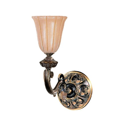 (Crystorama 891-BZ Traditional One Light Wall Sconce from Natural Alabaster collection in Bronze/Darkfinish, 12.00)