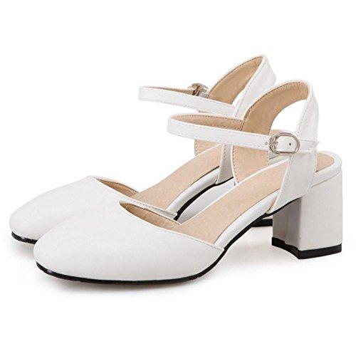 TAOFFEN Mujer Elegante Tacon Medio Correa de Tobillo Hebilla Sandalias Cerrado Trabajo de Oficina Zapatos Blanco