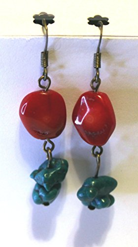 Boho Red Coral Dyed Bead, Green Stabilized Turquoise Nugget Bead, Antique Bronze Fish Hook Earrings