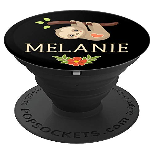 Melanie Gift Sloth Heart Flowers Black Brown Gold Tan Rose - PopSockets Grip and Stand for Phones and Tablets