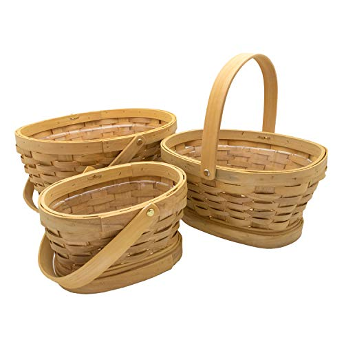 Royal Imports Picnic Gift Basket Wicker Chipwood Handwoven for Fruits, Flowers, Storage or Bread, with Folding Handles, Oval, Set of 3, Natural ()